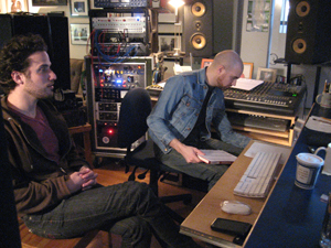 Tam Lin's Paul Weinfeld (left) and Mario McNulty listening back to a mix.