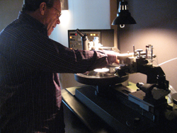 Sterling's George Marino readies a test pressing for playback