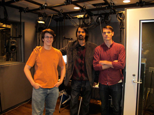 Pictured inside the 16-channel surround lab are Music Technology grad students: (l-r): Chris Polcyn, Izzi Ramkissoon and Kyle Vaughn.