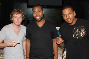 "Claude Kelly with production duo The Runners: Andrew ""Dru Brett"" Harr and Jermaine ""Mayne Zayne"" Jackson"