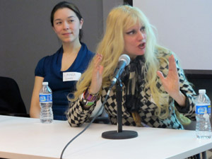"NYC-based musician and performance artist Phoebe Legere, who's been called ""the female Frank Zappa,"" with composer/sound designer Laura Sinnot at left."