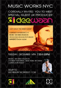 Event Alert: Music Works NYC Hosts UK Producer Deewan on Tuesday, 12/14