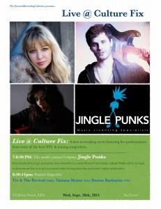 Event Alert: Live @ Culture Fix Tonight, 9/28 w/Jingle Punks