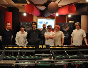 Valentine (3rd From Left) With The UTA Crew And Console At Barefoot  Recording. Larry Jasper On Far Right.