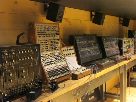 Another synth wall -- note the wall-mounted monitors every few feet.
