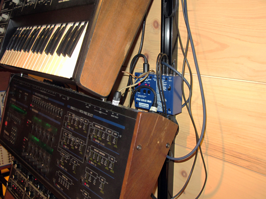 Kenton Pro Solo Mk2 MIDI to CV converters are essential to triggering the older instruments.