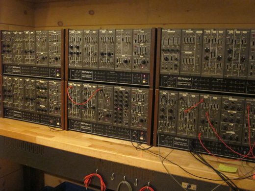 A Roland System 100m is one of several ,classic modular systems onsite.