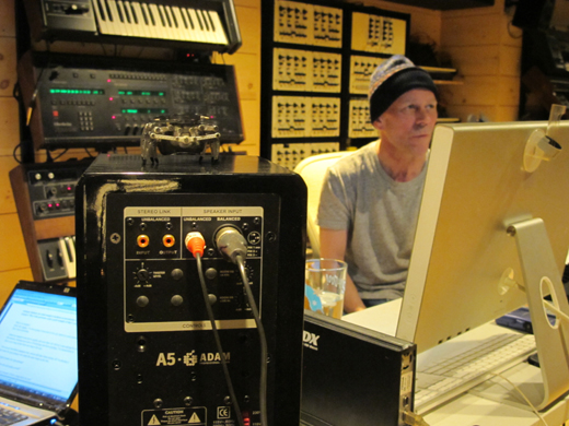 At the control center, Clarke uses Logic to work with any combination of synths in the studio.