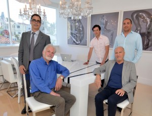 Pictured at the 50,000 sq.ft. building to house the new music studio center are (L-R) renowned producer/engineer Tony Maserati, studio designer Vincent van Haaff, Bedrock.LA co-founder KamranV, Standard Oil's CEO Marc Bohbot and COO Michael Bitton. Photo by David Goggin
