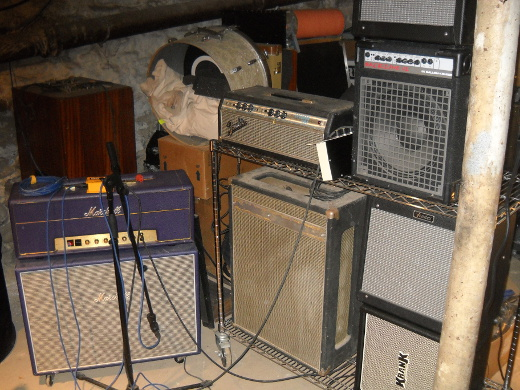 Amps frequently get miked in the basement.