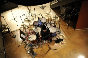 Chris Vrenna (NIN, Tweaker) tracking drums at The Mouse House. Photo by Arun Nevader