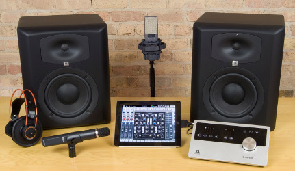 The first place package from Auria's contest includes gear from AKG, Apogee, and JBL Professional.