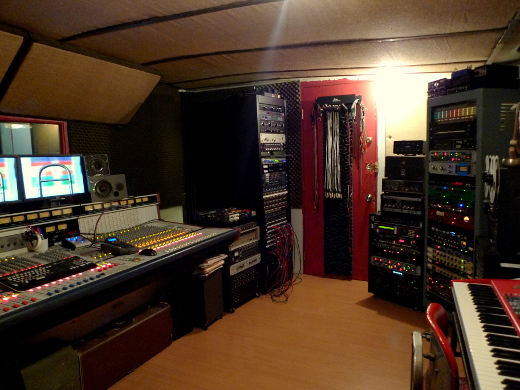 A Wheatstone analog broadcast board is at the hub of Four Foot Studios.