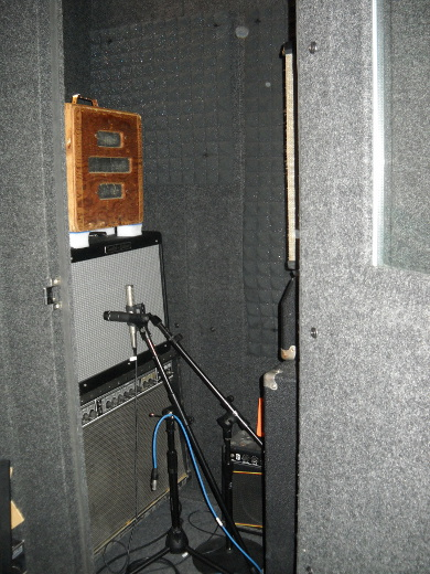 Jacoby's vocal booth does mucho duty as a fierce guitar amping cabinet.