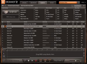 EZ Drummer 2 Search window