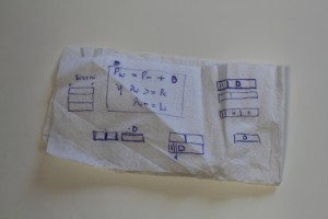 Cocktail napkin origins: Some of the first schematics, drawn out by Levin. (click to enlarge)