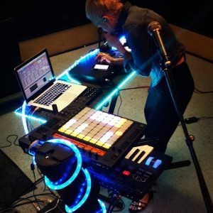 Getting your laptop into your live setup can pay off -- the rig of NYC artist I Am Snow Angel.
