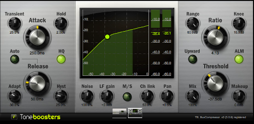 BIG is beautiful -- the expansive TB BusCompressor GUI.
