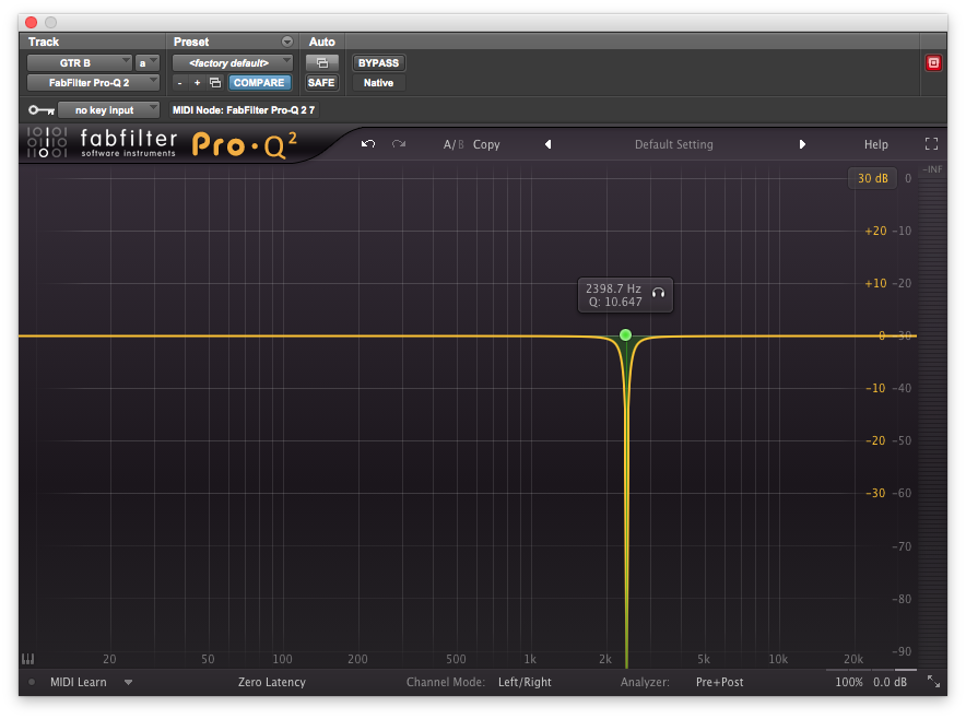 The guitar EQ described above, featuring a steep notch around 24kHz to eliminate an unpleasant ring.