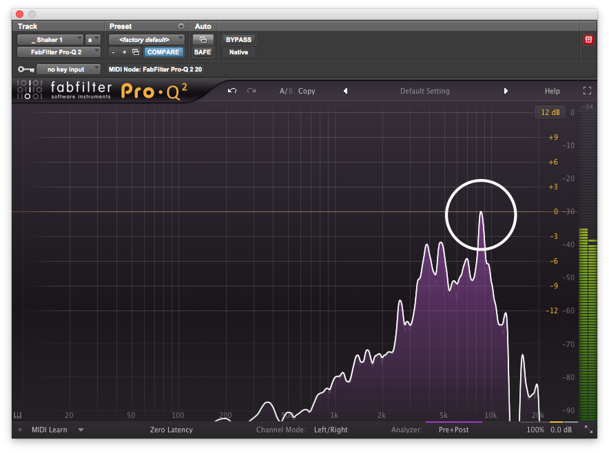 A potential problem frequency appearing as a peak on Pro-Q's spectrum analyzer