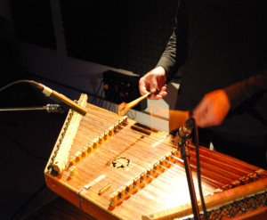 Mueller's hammered dulcimer, miked at Sound Tree Studio with a Neumann KM 184.
