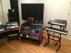 To the right, Alex Sterling's outboard and synths are close at hand.