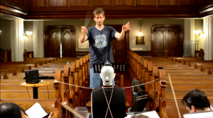 The B&K 4100 Sound Quality Heard & Torso simulator on duty for Chesky Records at the German Lutheran Church of St. Paul in Manhattan.