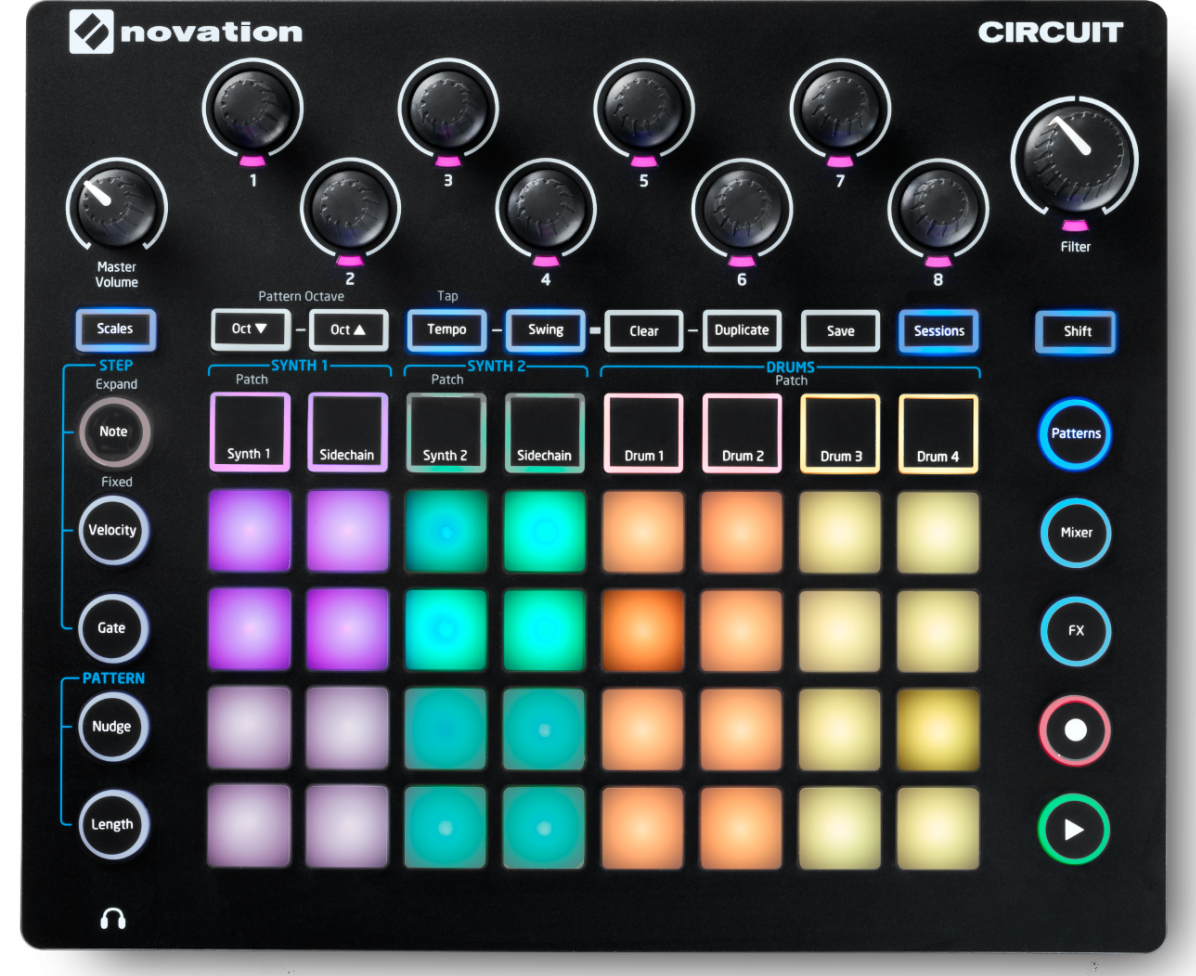 novation introduces circuit portable synth sequencer drum machine and fx box sonicscoop. Black Bedroom Furniture Sets. Home Design Ideas