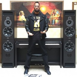 """Wu-Tang Clan's The RZA alongside the PMC MB2-XBD speakers used to record and mix """"Once Upon a Time in Shaolin."""""""