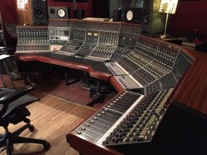 The famed wraparound Neve console of The Magic Shop.