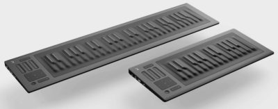 The ROLI Seaboard RISE 49, next to its little brother, the RISE 25.