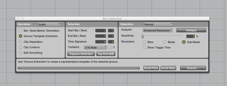 Groove Template Extraction mode.