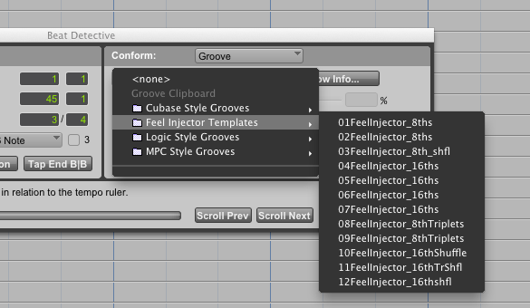 Some of the stock groove templates in Pro Tools.