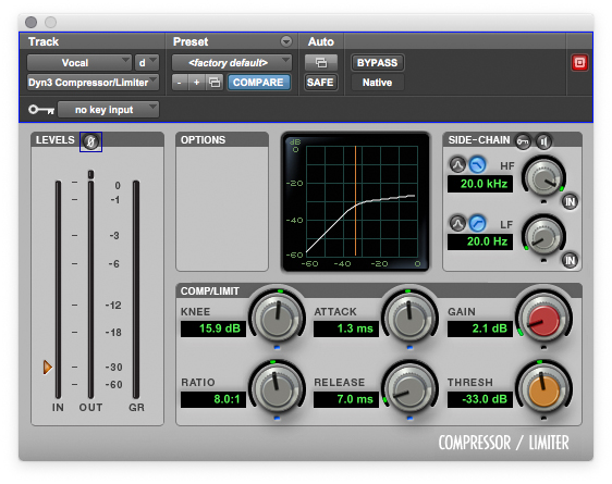 Be careful of using too fast of an attack time, as this can push the vocal further back in the mix.