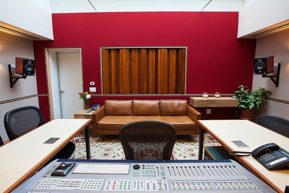 Studio A control room, rear view. State of the art acoustic design, custom furniture and personalized service make this room a pleasure to work in.