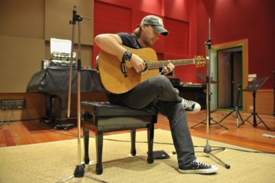 David with the custom-designed acoustic guitar by Manuel Rodriguez.