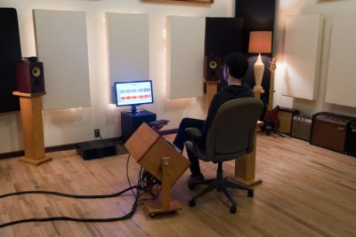 Scott Craggs of Old Colony Mastering Studio at work, Boston MA. Photo by Lindsay Metivier.