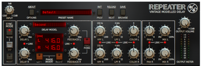 Load up one of 23 different delay types and let the tweaking begin.