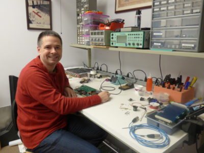 A man and his workbench: Todd Humora was recently named Director of Engineering at API.