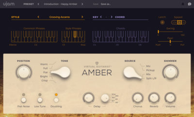 "The AMBER acoustic guitar instrument from UJAM's ""Virtual Guitarist"" line. A clean electric version called SPARKLE is also available."