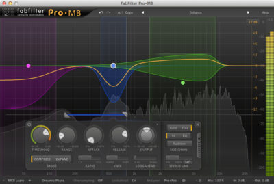 Some fairly extreme settings on the Pro MB muliband compressor from FabFilter