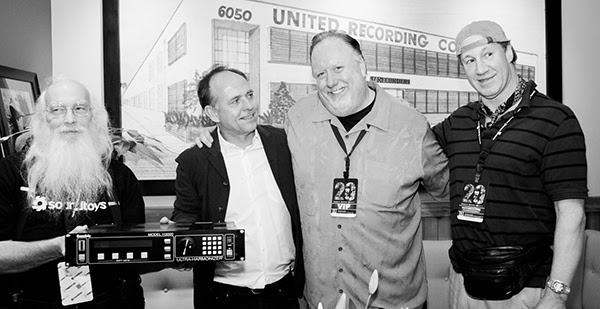 Bob Belcher and Ken Bogdanowicz of Soundtoys pose with Gil Griffith of Wave Distribution and Dave Derr of Empirical Labs, holding the classic H3000 effects unit they helped bring to life together more than 20 years ago.