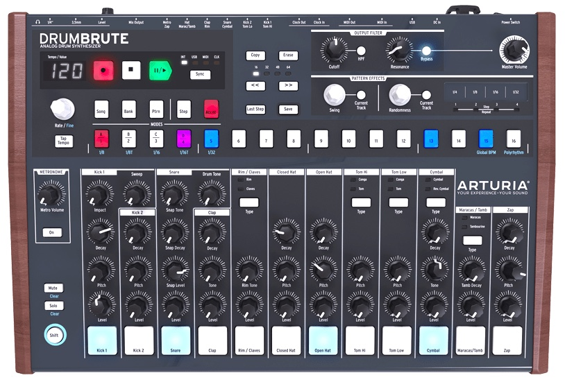 The user interface of DrumBrute should feel familiar to those with experience using drum machines. It also offers several unique features that improve workflow and open up new possibilities within the digital realm.