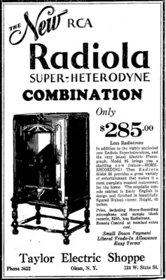 A 1930 ad for the RCA Radiola