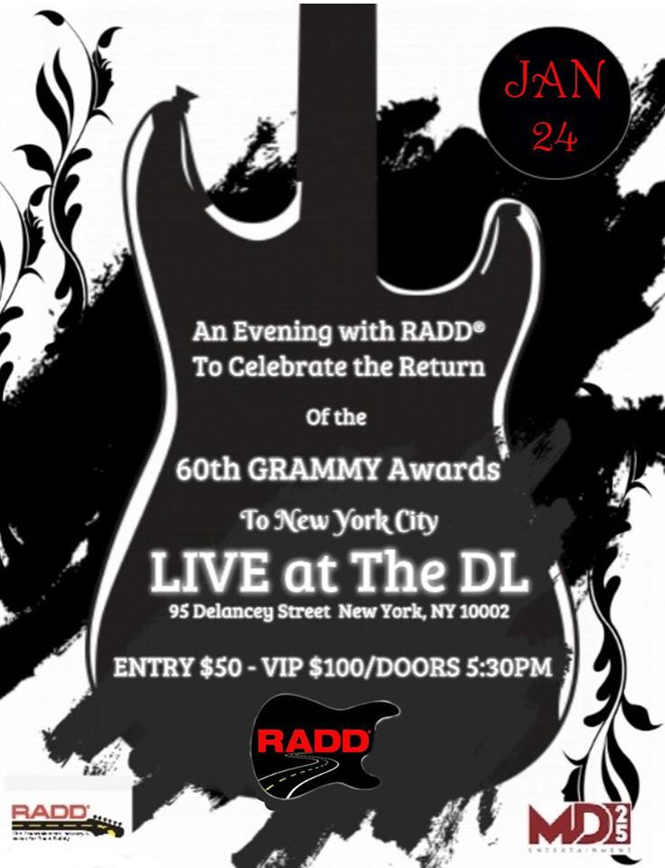 "NYC Event Alert: The GRAMMYs are Back in NYC — Celebrate via ""An Evening With RADD"" 1/24"